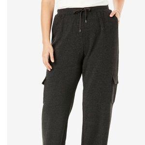 Plus Size Better Fleece Cargo Gray Sweatpants